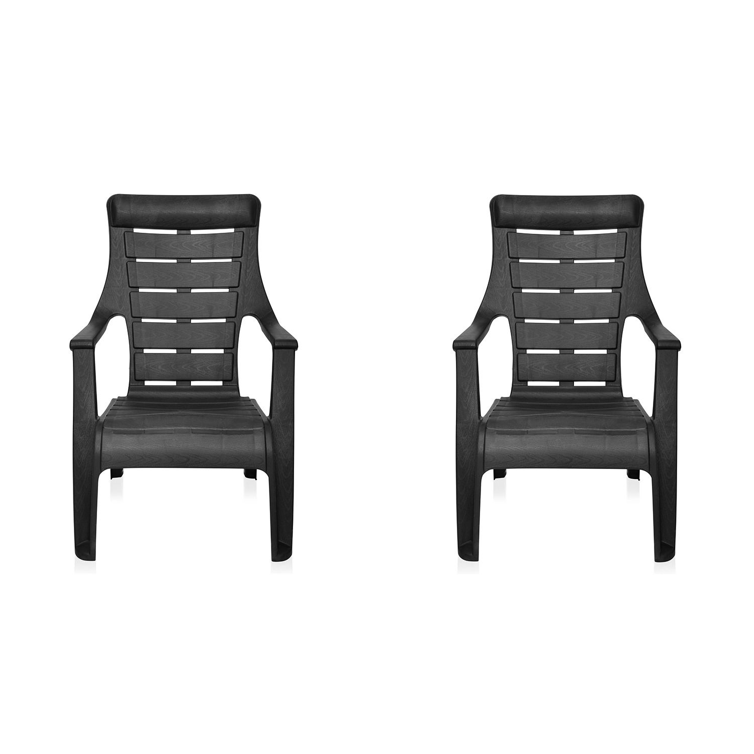 Buy Nilkamal Black Sunday Garden Chair Set Of 2 Flocsundaykit2blk Best Prices Industrybuying