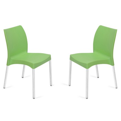 Buy Nilkamal Green Novella Without Arm Cushion Chair Set Of 2 Flocnovla2kit7006 Best Prices