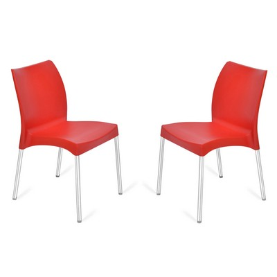 Buy Nilkamal Red Novella Without Arm Cushion Chair Set Of 2 Flocnovla2kit7008 Best Prices