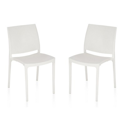 Buy Nilkamal White Novella Without Arm Cushion Chair Set Of 2 Flocnovla2kit8008 Best Prices