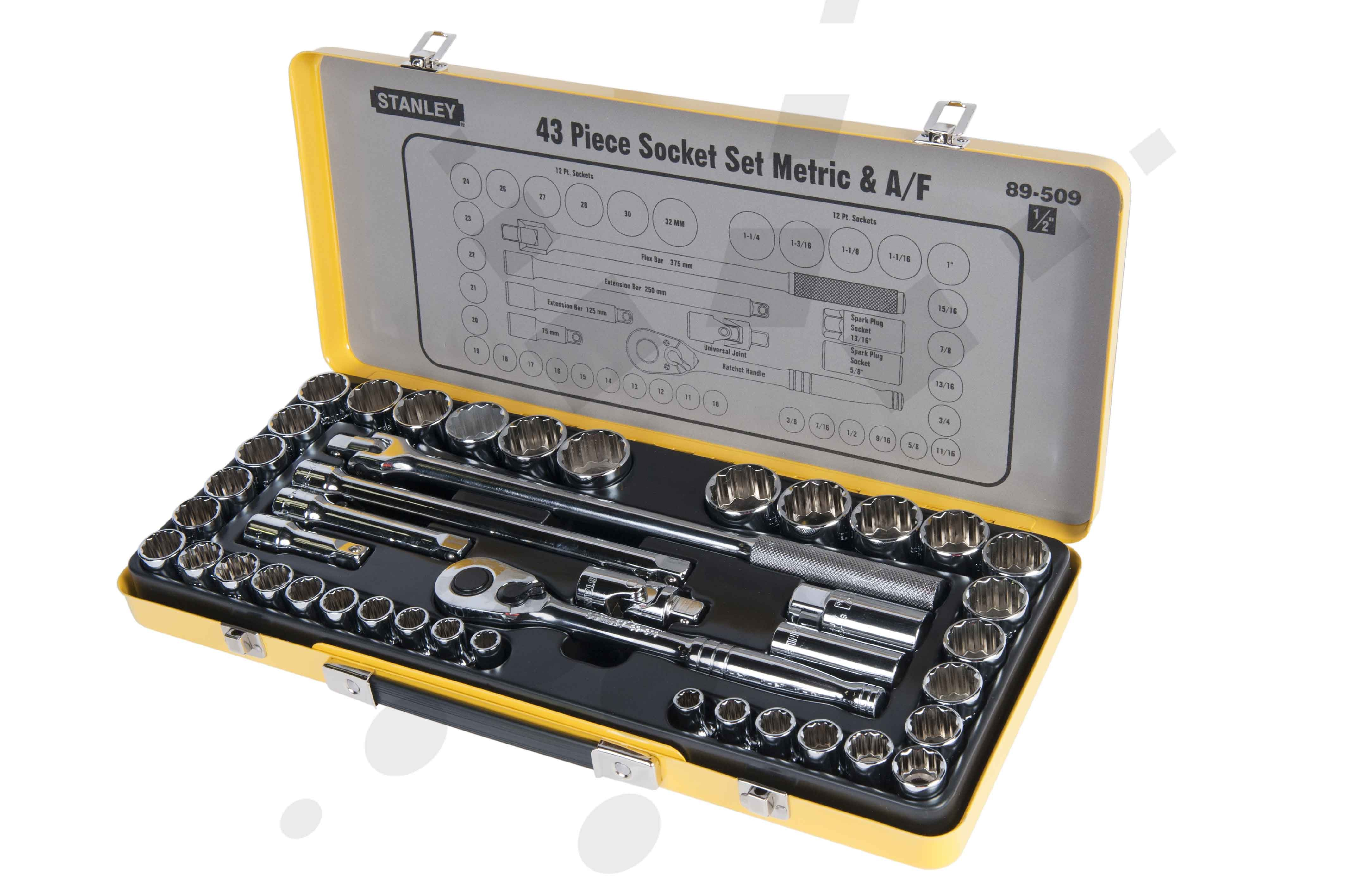 stanley stanley 1 2 inch square drive socket set 43 pcs 89 509
