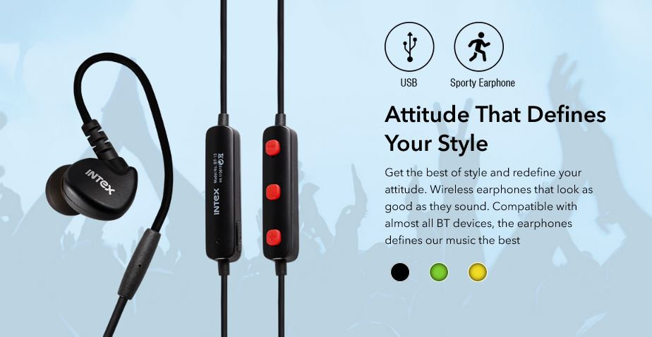 386592efb4e ... specifications provided in a description to make a better purchase  decision. Buy Intex BT-13 Wireless Sports Bluetooth Earphones Black online  in India ...
