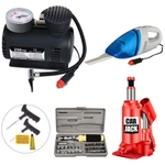 HomePro New Air Compressor, Car Jack, Car Vacuum Cleaner, Multipurpose Toolkit & Car Tyre Repair Ki
