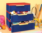 Nilkamal Chester 13 Storage Cabinet (Pepsi Blue And Bright Red)