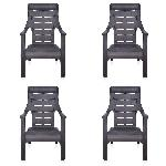 Nilkamal New Brown Sunday Garden Chair Set Of 4 FLOCSUNDYKIT4WBRW