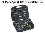 "Stanley 86 Pcs 1/4"" & 1/2"" Drive Metric Set Mechanic Tool Kit"