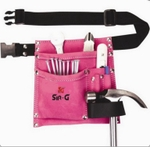 SIR-G 5 Pocket Suede Leather Pink Tool Belt Pouch Lp 34