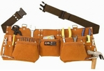 SIR-G 9 Pocket Suede Leather Tool Pouch Bag Belt