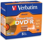 VERBATIM DVD-R 8x Speed 4.7 GB 5 Pack Jewel Case