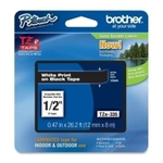 Brother (Length 8m, Width 12mm) Laminated Tape (White Print On Black Tape) - TZE-335