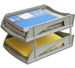 Solo Deluxe Paper And File Tray Grey 2 Compartments TR 312