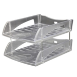 Solo Deluxe Paper And File Tray Transparent White 2 Compartments TR 312