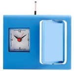 Asian Square Blue Table Clock Cum Pen Stand 66